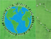 """创意毕业照来袭!地理专业学生航拍绿色""""地球"""""""