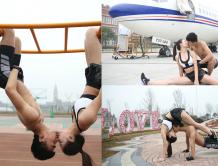 情人节准空姐空少情侣校园内拍摄大尺度秀恩爱照片