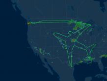 """跨越22州 历时18小时 波音787在美国上空画了张""""自画像"""""""
