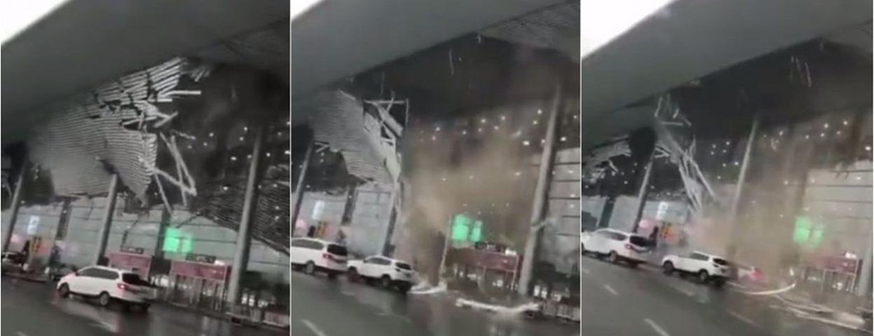 南昌国际机场突遇大风 航站楼屋檐装饰材料大面积脱落