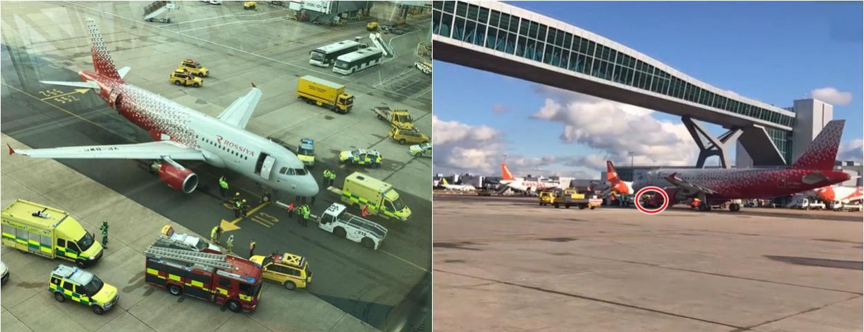 飞机将起飞却压到地勤人员脚上 人受伤 飞机也受伤