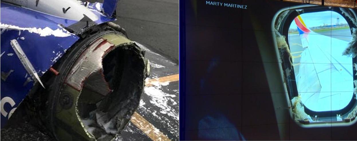 客机发动机高空爆炸击穿窗户 一女子半个身子被吸到窗外