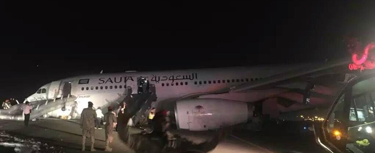"""沙特一客机出意外中途紧急备降 夜间惊险""""鼻子着地"""""""