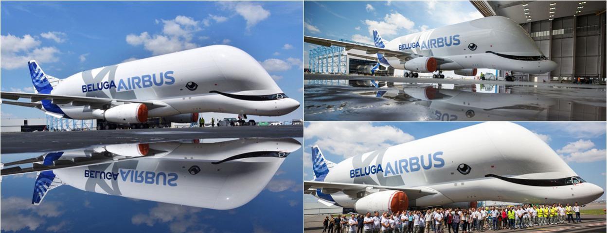 """首架空客新型运输机""""大白鲸XL""""新涂装亮相 酷似白鲸"""