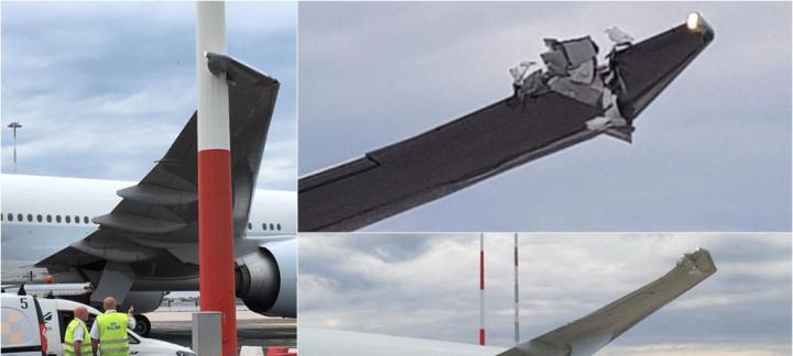 国泰航空一波音777客机在罗马机场机翼撞上灯杆 飞机受损