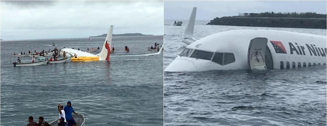 南太平洋一架波音737雨中降落时坠湖 机上47人被救