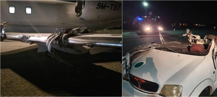 罕见事故!飞机跑道上撞到机场工作车 车辆司机死亡