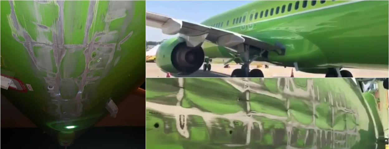 俄罗斯一架波音737飞机硬着陆 机尾撞在地上 飞机受损