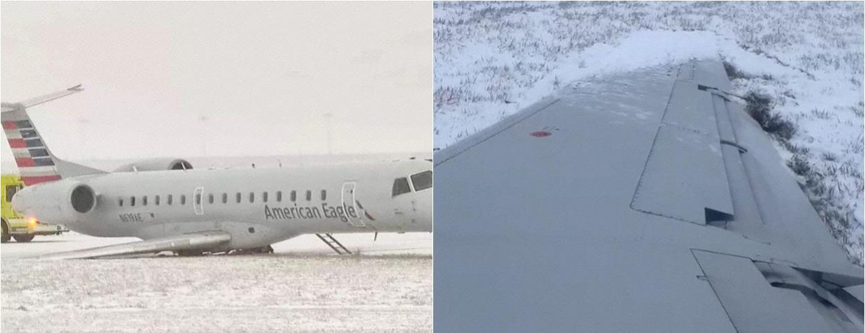 美国一架飞机冲出跑道 一个起落架坍塌 一个机翼触地