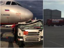 """俄罗斯最大机场发生严重""""车祸"""" 加油车一头撞上大飞机"""