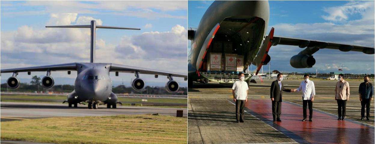 中国新冠疫苗由运-20军用飞机运抵菲律宾 菲总统机场迎接